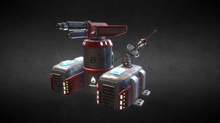 Sci-Fi Flamethrower Tower Full 3D Model