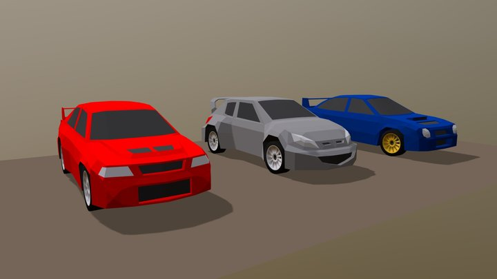 Low Poly Rally Cars Set 3D Model
