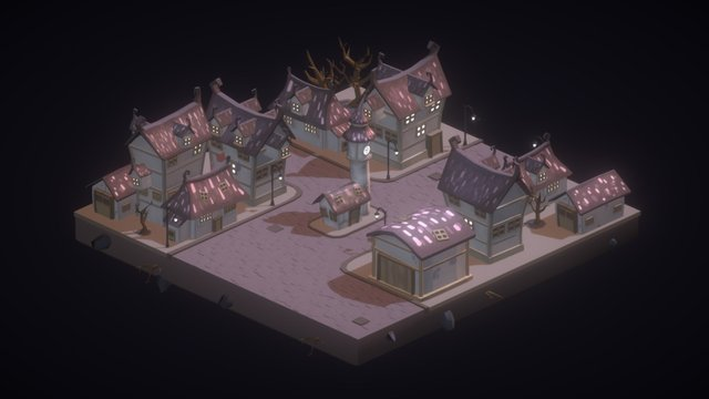 Low poly dark town 3D Model