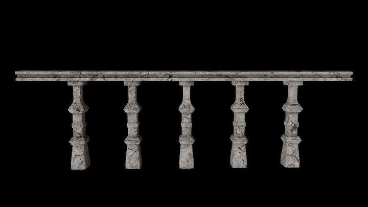 Damaged Stone Railing 3D Model