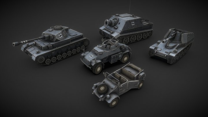 WW2 German Low Poly Tanks #3 3D Model