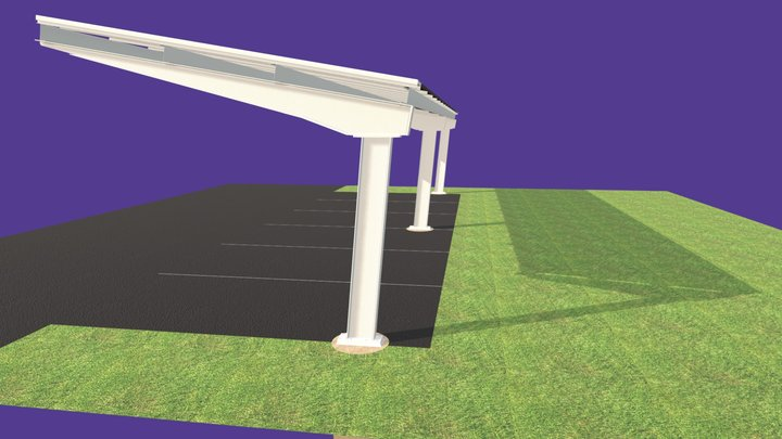 3 Panel Bay Solar Carport Reversed 3D Model