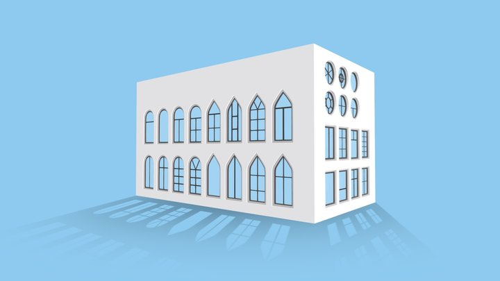 Lowpoly Fixed Windows of Various Shapes 3D Model