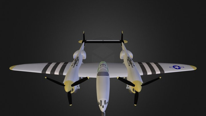 Airplane P38J N051012.3DS 3D Model