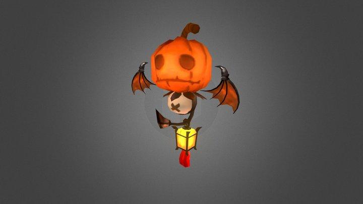 Low Poly Pumpkin Character 3D Model