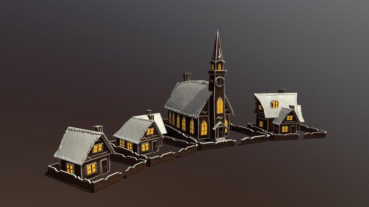 Christmas Cannon Assets 3D Model