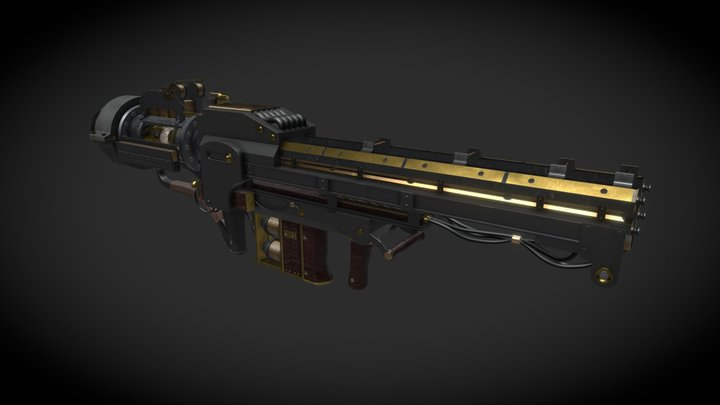 Steampunk Railgun 3D Model