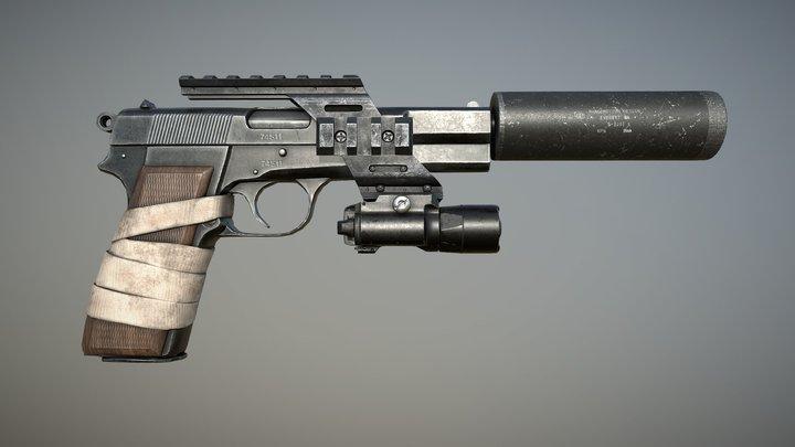 Browning Hi-Power Pistol 3D Model