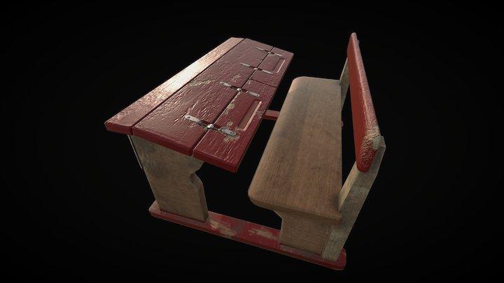 "Old school desk ""USSR"" 3D Model"