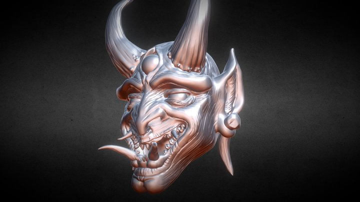 Day 02 SculptJanuary 2018 Oni Mask 3D Model