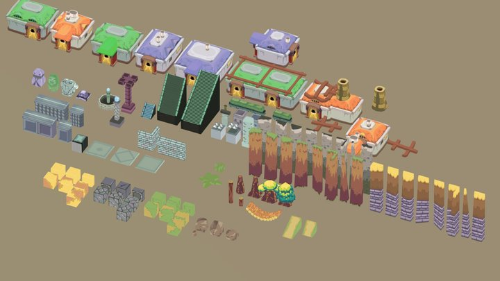 Tilable Pixel Asset Pack 3D Model