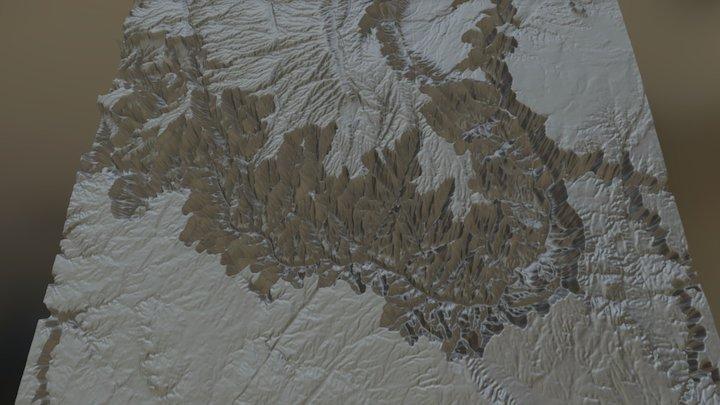 Grand Canyon Terrain Map 3D Model