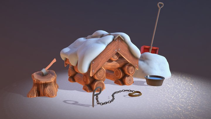 Snowy Doghouse 3D Model