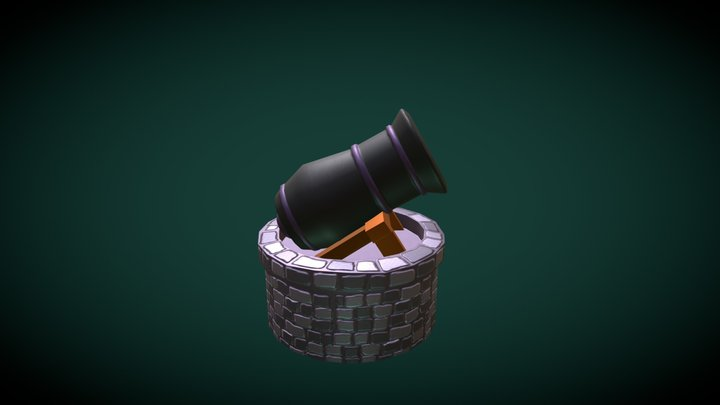 Animated Cannon 3D Model