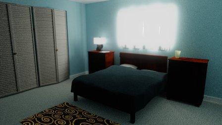 Bedroom - Blender Cycles Baked 3D Model
