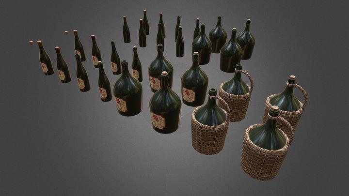 Wine Bottles (GameReady + LODs) 3D Model