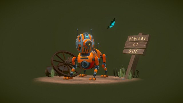 Robot Dog (with Flamethrower) 3D Model