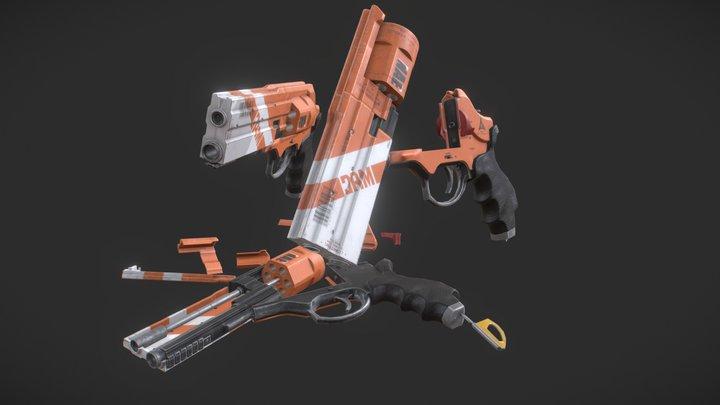 Revolver Conjunto LOW DEF 3D Model