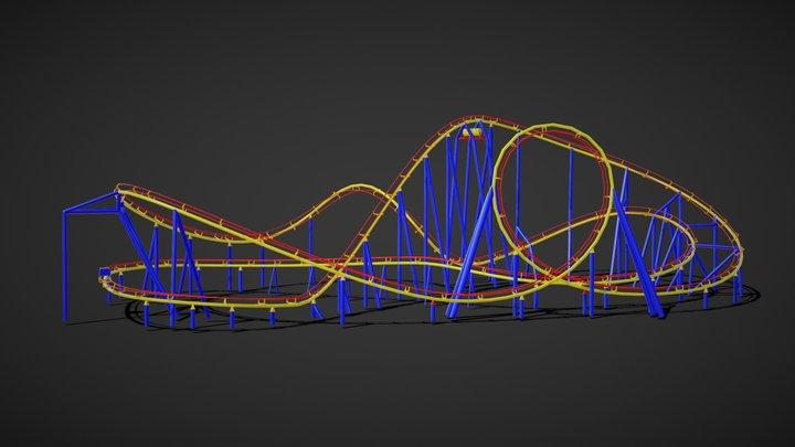 Rollercoaster VR lowpoly 3D Model