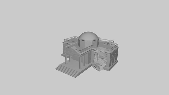 The Simpsons Game (2007) - Destroyed Town Hall 3D Model