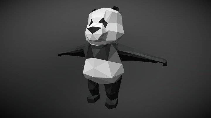 Low Poly Panda for game 3D Model