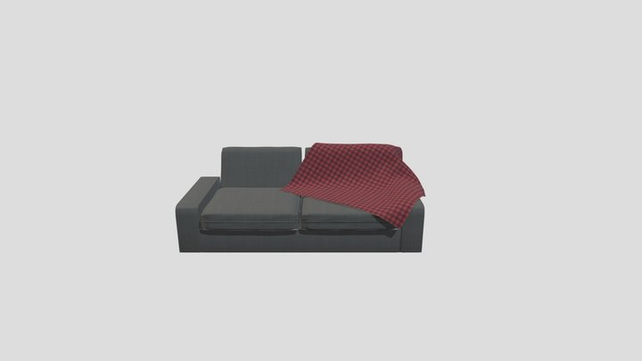 Modern Style Couch (with Blanket) 3D Model