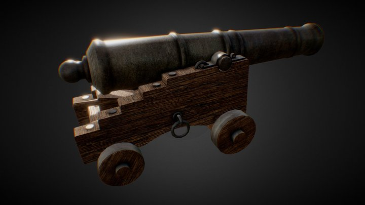 24lb Cannon - 17th Century 3D Model