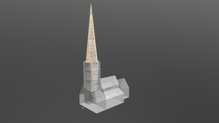 Jekaba baznicas torna koka konstrukcijas 3D Model