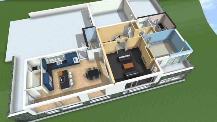 G. Johnson House - Upper Floor Plan 3D Model