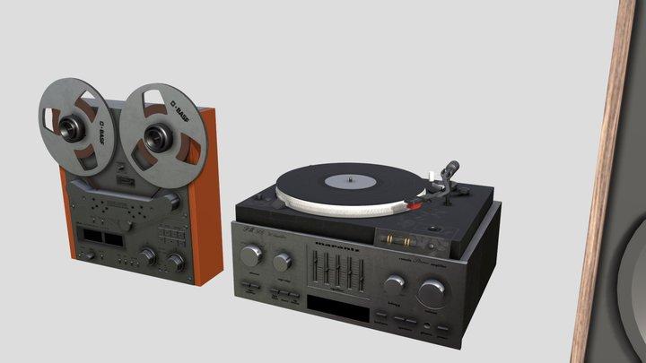 80s HiFi Stereo Set 3D Model