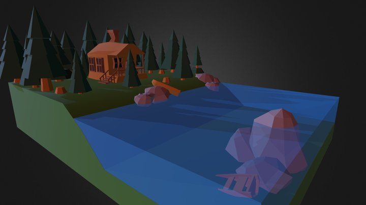 Low Poly Forest Cabin 3D Model