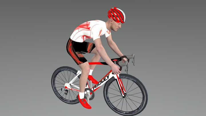 Cyclist in drops pose 3D Model