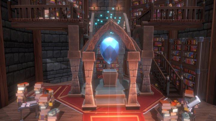 Stylized Wizard's Library 3D Model