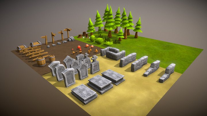 Lowpoly Toon Forest 3D Model