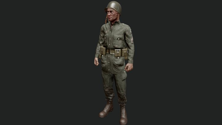 WWII US Marine Soldier (Rigged) 3D Model