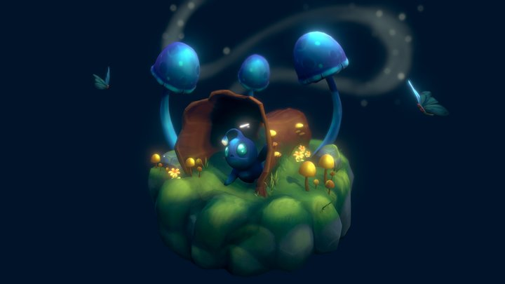 Night time mushroom diorama 3D Model