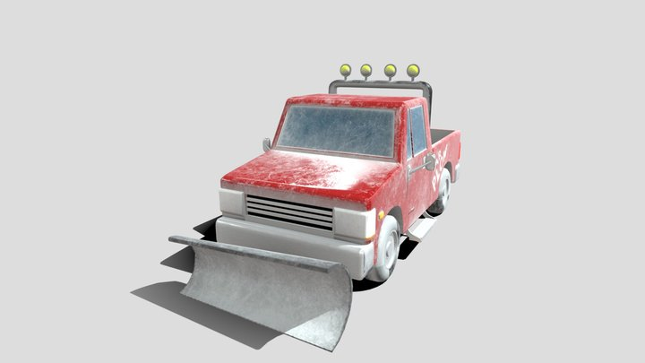 1992 Kumatsu Pickup with snowplow 3D Model