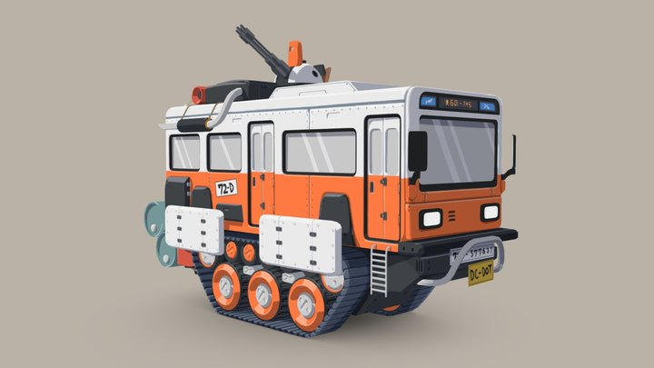 Transport Vehicle with Tank Treads 3D Model