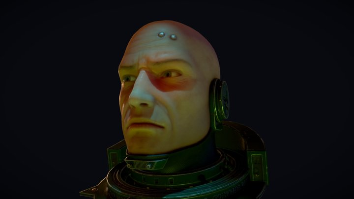 Space Marine Head [Animated - PBR] 3D Model