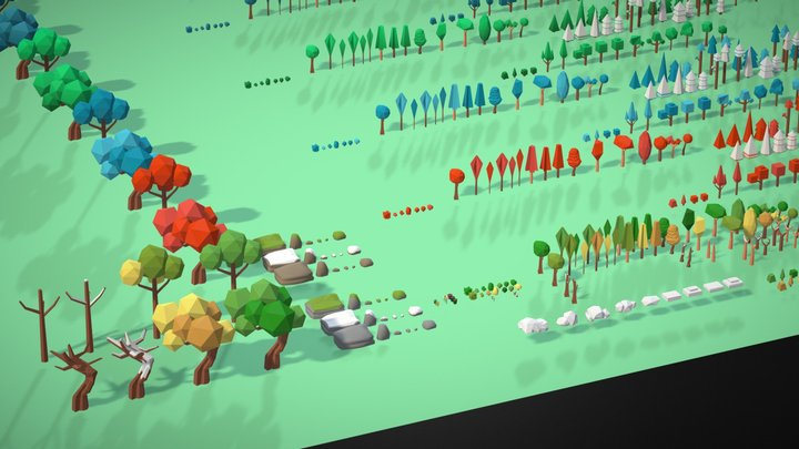 Low Poly Nature Pack (4 Seasons) 3D Model