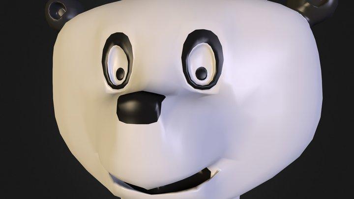 Cartoon Panda Head 3D Model