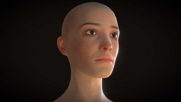Bald Girl Head [PBR] 3D Model