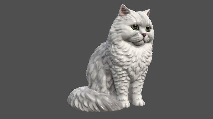 Custom made white long-hair cat figurine 3D Model