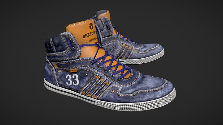 Denim Shoes 3D Model