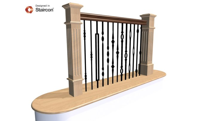 Metal Balustrade With Newels 4095 and 4695 3D Model