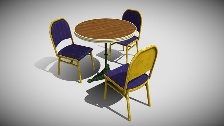 Chair Table Stylized 3D Model