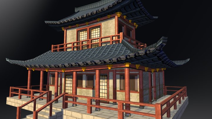Japanese Lowpoly temple 3D Model