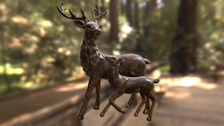 Christmas Stag & Fawn Sculpture 3D Model