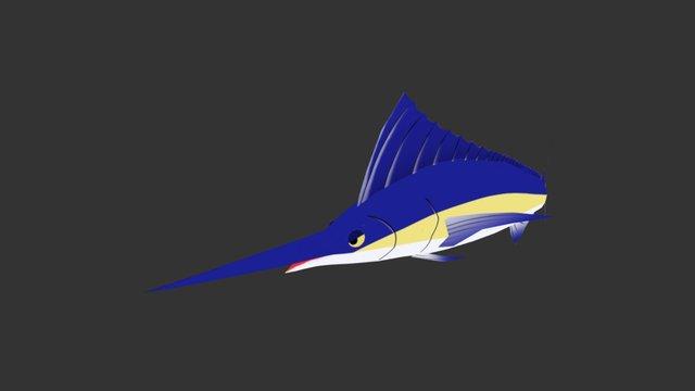 Cartoon Swordfish 3D Model