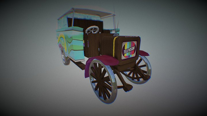 Multi-retro styled Garford Truck (Low Poly) 3D Model